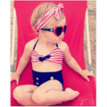 Lindo bebé niñas traje de baño rain bow fringe cadena bikini traje de baño traje de baño para niños de alta cintura del traje de baño biquini sea infantils