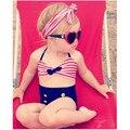 Meninas bonitos do bebê maiô chuva arco franja biquíni swimwear fatos de banho para o miúdo cintura alta swimwear biquini sea infantils