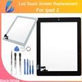 Ll comerciante de substituição venda quente para o ipad 2 ipad2 toque tela Tablet Painel de Digitador de Vidro Frontal com Botão Home e adesivo