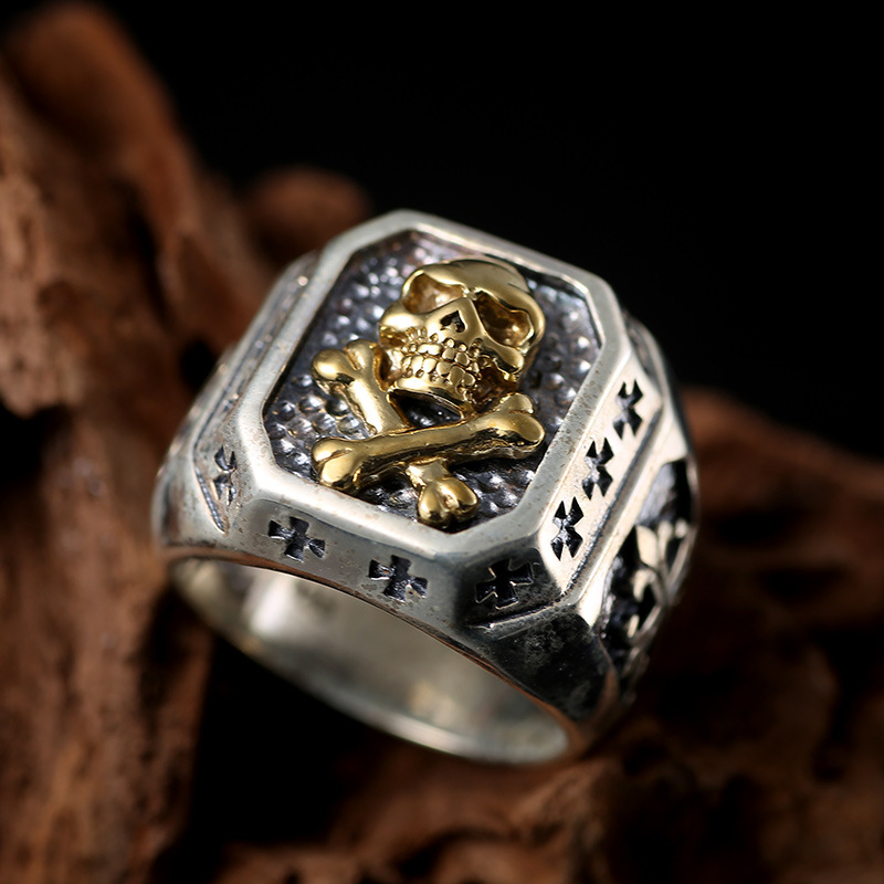 S925 retro Silver Skull Ring cross section man finger ring personality punk s925 sterling silver skull ring metrosexual officers personality of world war ii punk man retro silver ring opening
