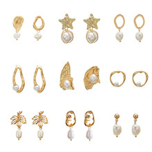 Vintage Gold Ohrringe Für Frauen 2019 Geometrische Tropfen Ohrring Big DIY Hochzeit Unregelmäßige Süßwasser Perle Mode Schmuck