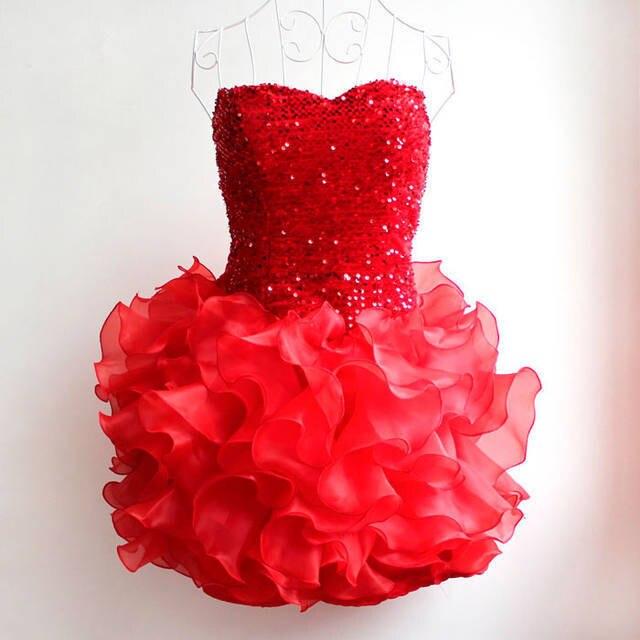 Многослойное платье для танцев с блестками и вышивкой для девочек, платье для выпускного вечера для крупных девушек, платье подружки невесты на возраст от 13 до 20 лет - Цвет: Красный