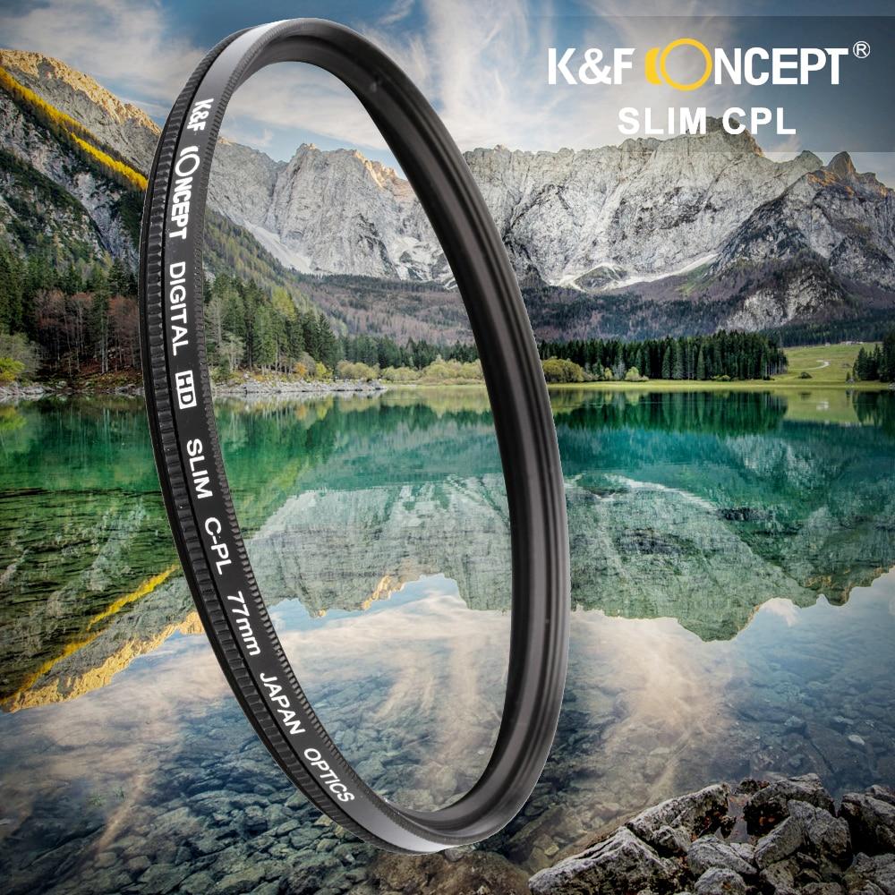 K F CONCEPT Ultra Slim CPL Camera Lens Filter Polarizer 52 58 62 67 72 77mm