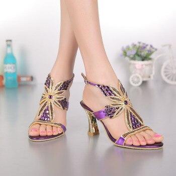 women shoes genuine leather wedding Rhinestone high heels sandals for women ladies peep toe Crystal sandals