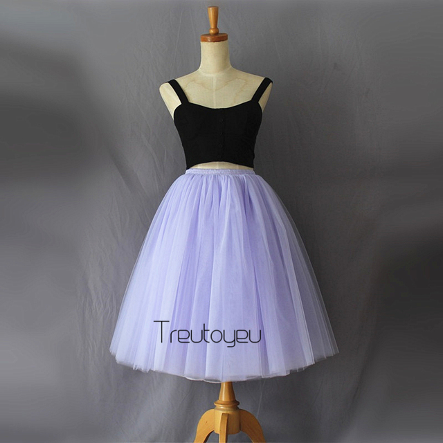 8f1c8493dd144 Fashion 7 Layers 65cm Long Tulle Skirts Pleated Midi Skirts Womens Adult  Tutu Saias Femininas Faldas Plus Size