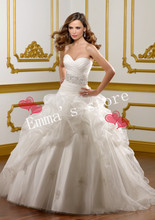MORI-Hot Free Shipping Fashion Custom Made Elegant A-Line Sweetheart Floor Length Train Ruffled Organza Beaded White Wedding Dre