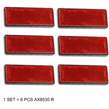 6 PCS AOHEWE  red  rectangular reflector  self adhesive E C E Approval reflect strip for trailer truck lorry bus RV caravan bike