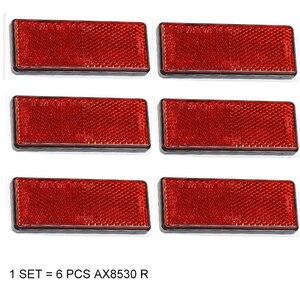 Image 1 - 6 PCS AOHEWE  red  rectangular reflector  self adhesive E C E Approval reflect strip for trailer truck lorry bus RV caravan bike