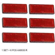 6 piezas AOHEWE reflector rectangular rojo autoadhesivo E C E aprobación reflectante tira para camión remolque camión RV caravana de bicicleta