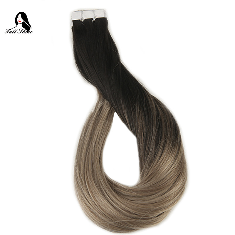 Full Shine Ship From US Brown Color Tape Hair Extension Remy Human Hair Extensions 20 Pieces 50 Gram Per Package Balayage color