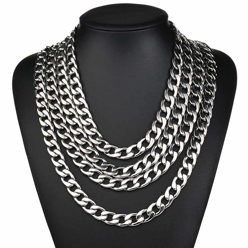 3.5mm/4.5mm/5mm/7.5mm/9mm/11mm Width 316L Stainless Steel Men Boy Spiga Plait Necklace Chain Silver Color ( 20-32 Inch )