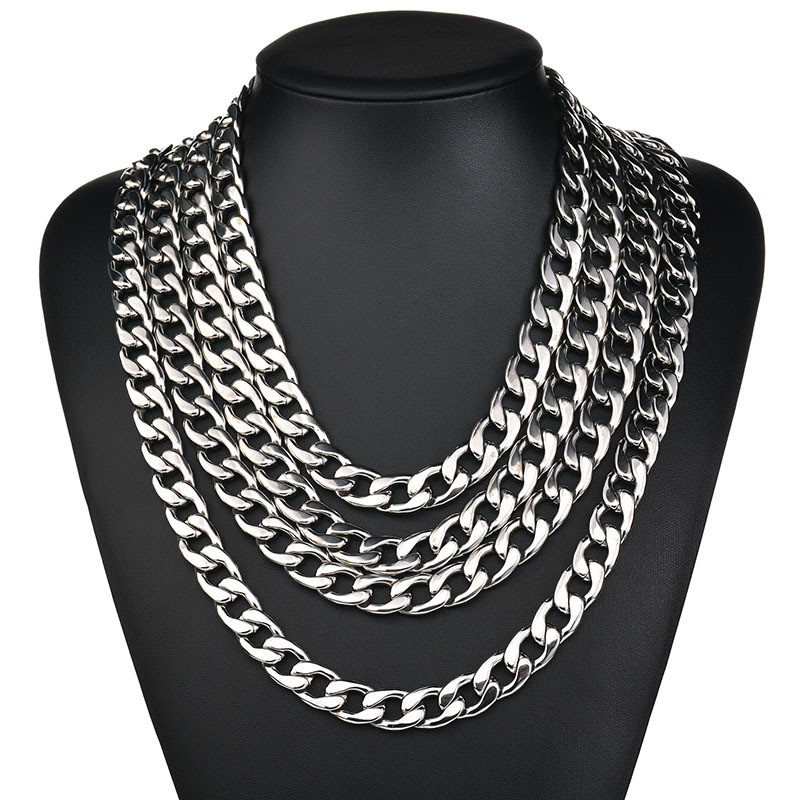 3.5mm/4.5mm/5mm/7.5mm/9mm/11mm Width 316L Stainless Steel Men Boy Spiga Plait Necklace Chain Silver Color ( 20-32 Inch ) gold earrings for women