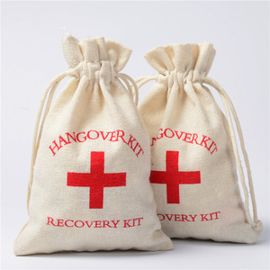 Image 5 - 100pcs 10*14cm Cotton Wedding Hangover Kit Bags for Hen Parties Hangover Recovery Kit Party Favor Gift Bags