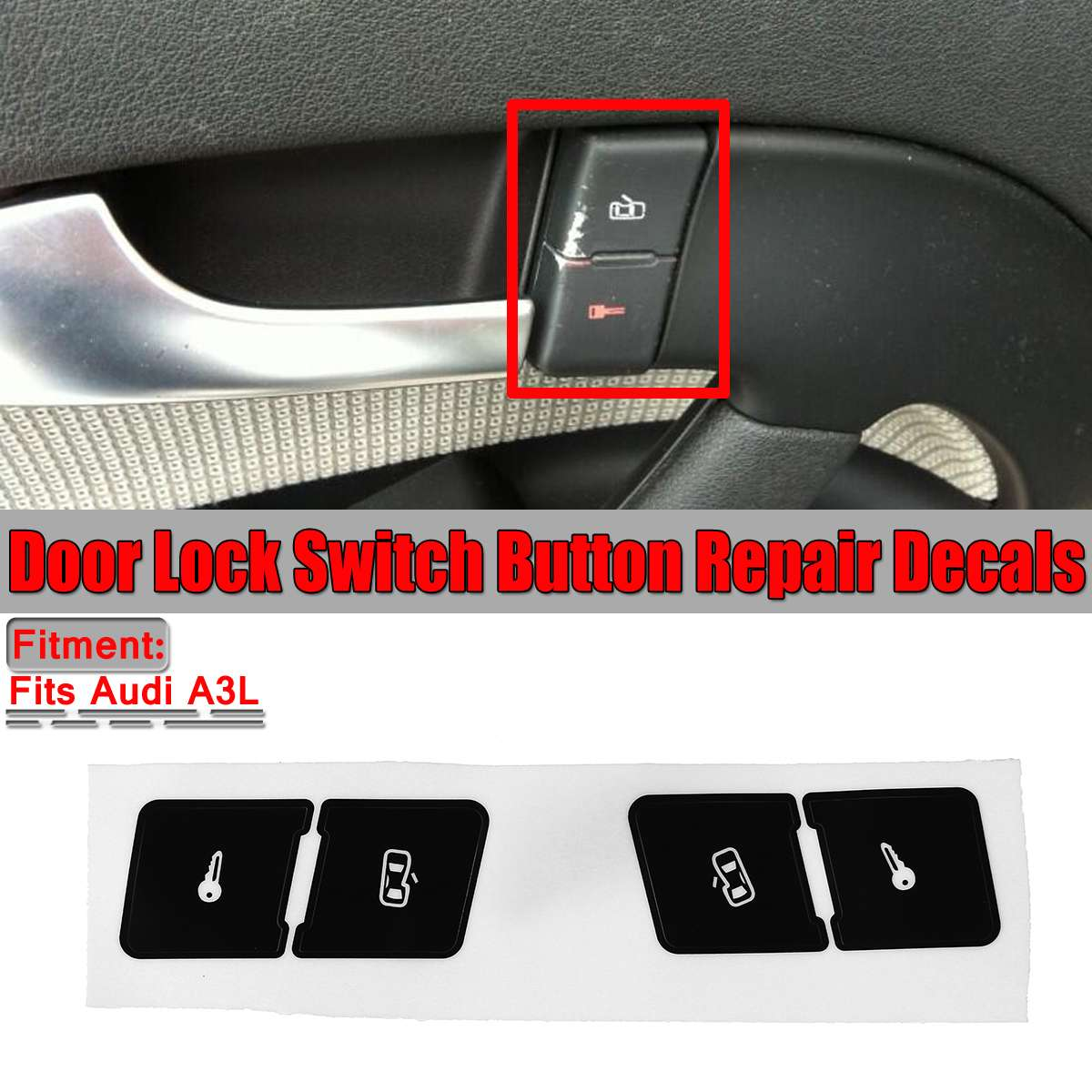 Left+Right Matte Black Car Door Lock Control Switch Button Repair Stickers Decals For Audi A3L Fixed Ugly Button Car Stickers