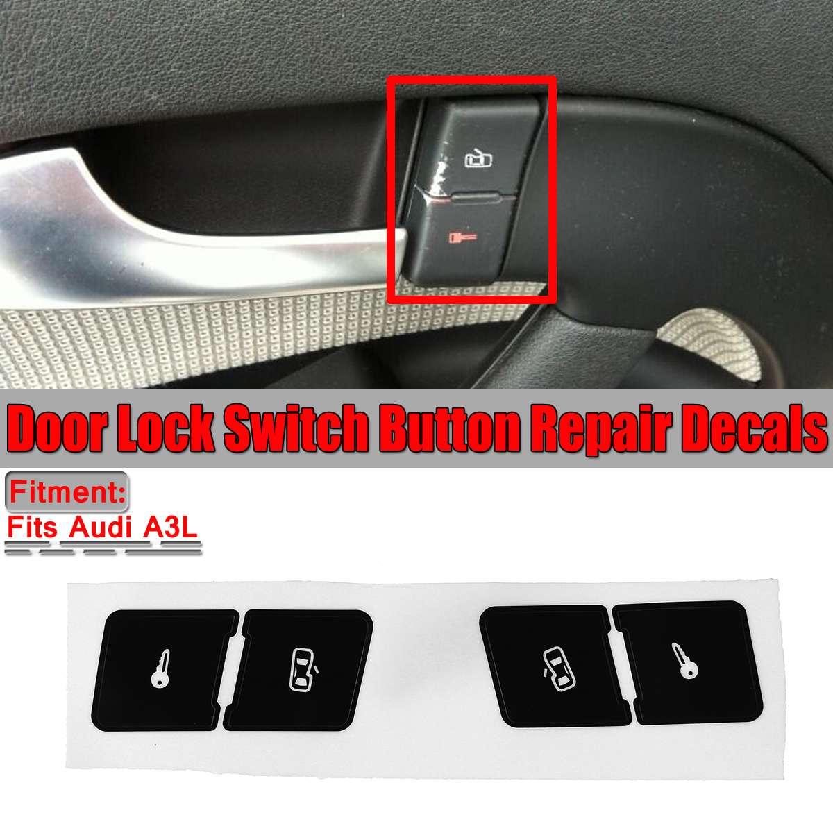 Sol + Sağ Mat Siyah Araba Kapı Kilidi Kontrol Anahtarı Düğmesi Onarım Çıkartmalar Çıkartmaları Audi A3L Sabit Çirkin Düğmesi araba Çıkartmaları