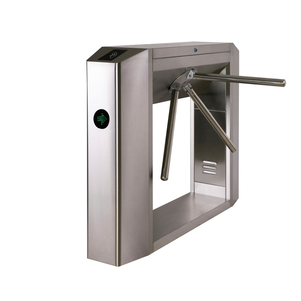 RFID System Full Automatic Tripod Turnstile Barrier with free pass function For Access Control System automatic tripod turnstile with built in electronics and 2 readers remote control panel for access control system