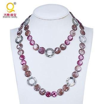 b29641514068 Nuevo modelo multicolor oblato Shell hueco collar de perlas collar largo  mujeres amistad collar joyería trabajo hecho a mano