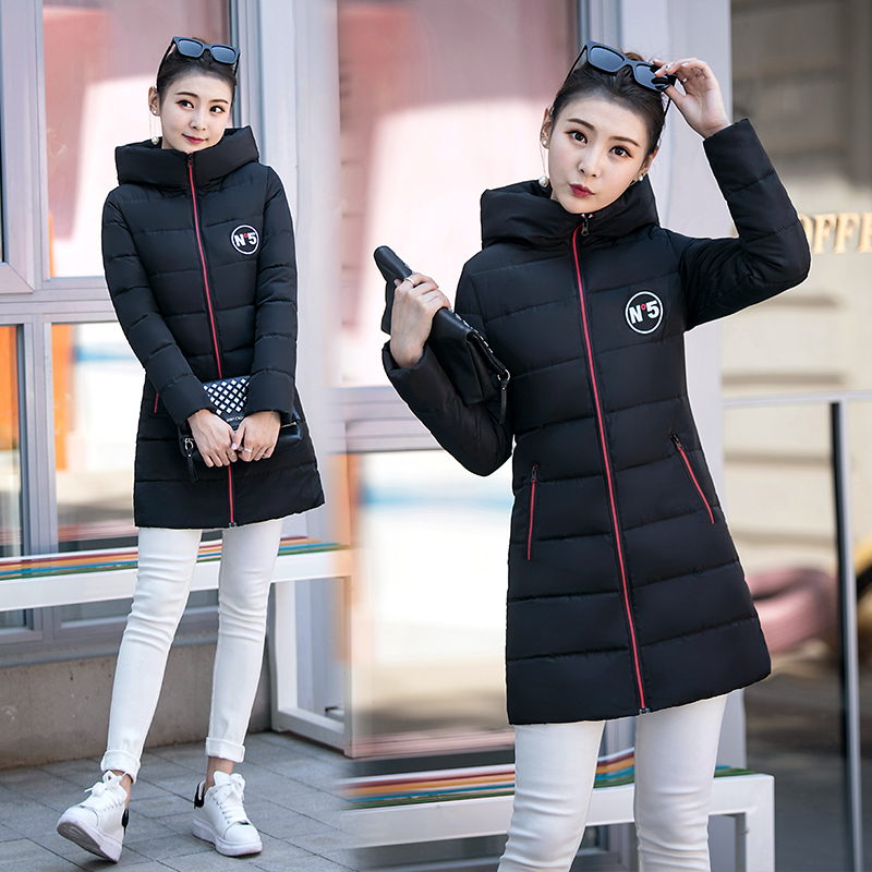 2017 Free Shipping New Autumn And Winter Hooded Coat Wear Down Cotton Winter Jacket Women Slim Letter Long Parka Coats