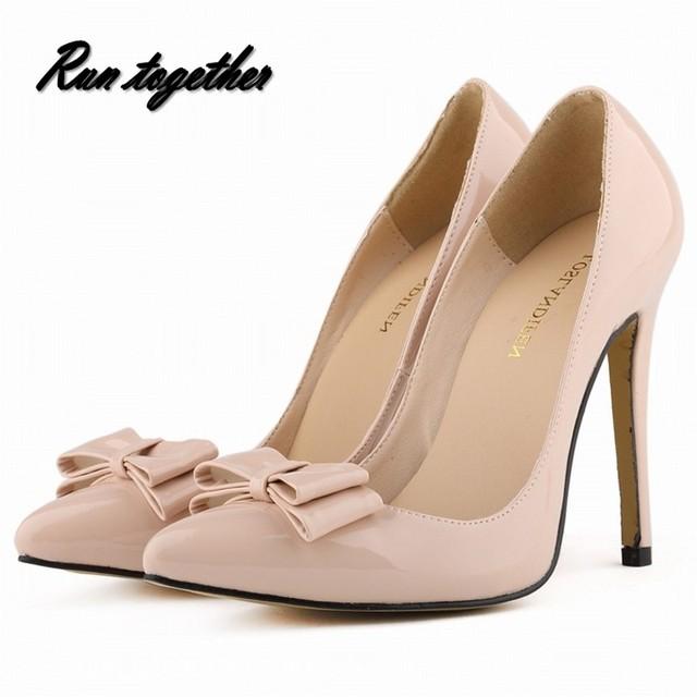 Loslandifen primavera verano moda bowtie mujeres zapatos de tacones altos mujer señaló teo señoras tacones bombas del banquete de boda de la muchacha