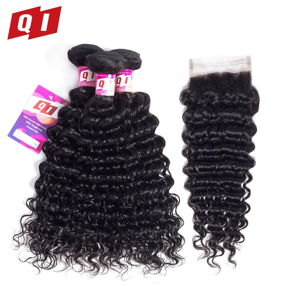 QI Hair 100% Human Hair Malaysian Hair  Deep Wave Bundles With Closure 3 Bundles Non-Remy Hair Extensions Natural Color