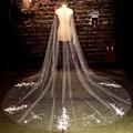 Top Quality Pearls Handmade Flowers Appliques Cut Edge Long Wedding Veil 2017 One Layer velos de novia