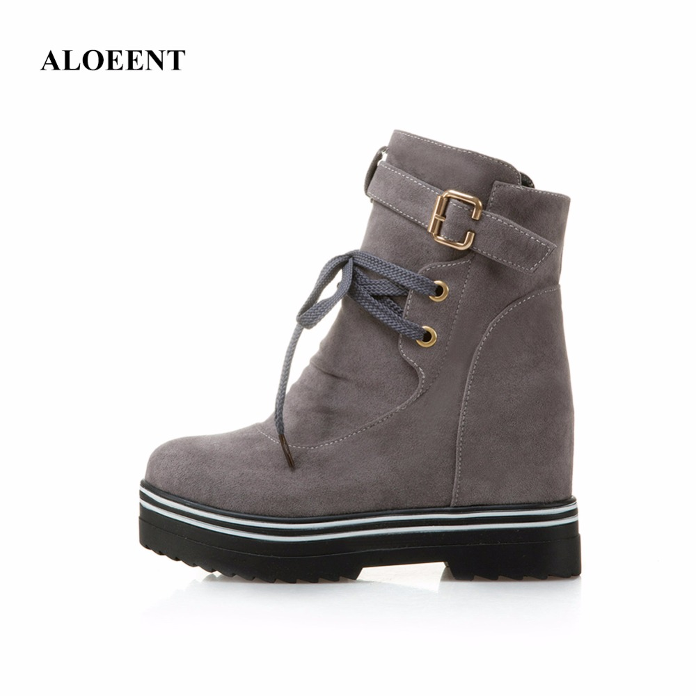 ALOEENT Women Boots Snow Warm Winter Boots Women Shoes Lace Up Fur Ankle Boots Ladies Winter Shoes With Platform