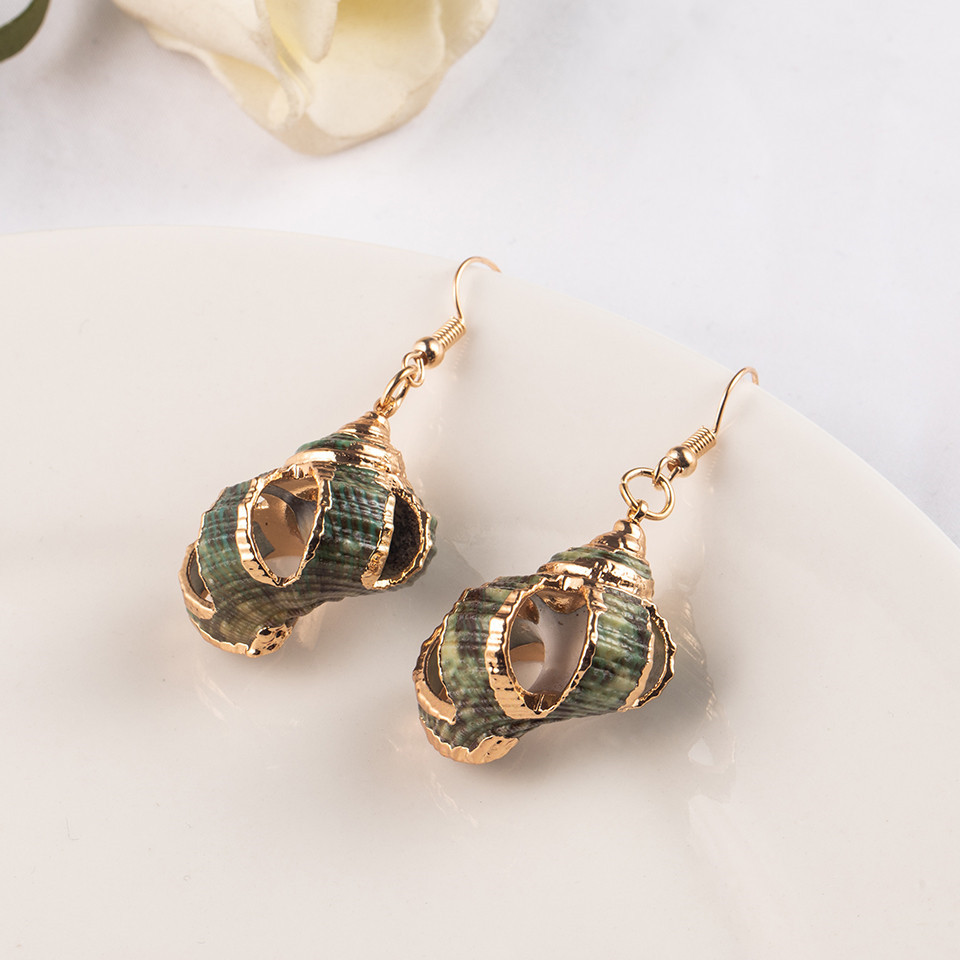 Sea Conch Shell Dangle Earrings Jewelry for Women Gold Silver Color Metal Earrings Summer Gifts Wedding Party Statement Earing (8)