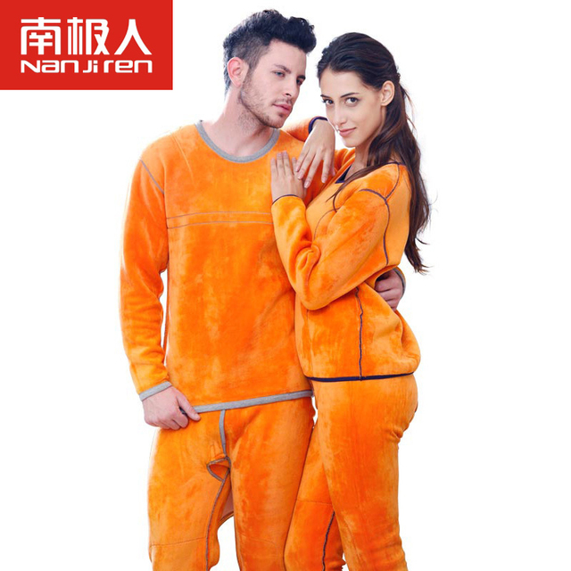 Men Women Thermal Underwear Winter Warm Inner Velvet Neck Thick Underwear Pajamas Thermos Long Johns for Men Women