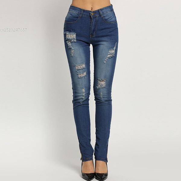 New Fashion Women Casual High Waisted Casual Holes Skinny Jeans new fashion women casual high waisted casual holes skinny jeans