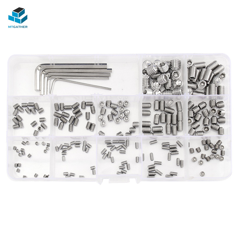 цена на MTGATHER 240Pcs Stainless Steel Allen Head Socket Hex Set Grub Screw Nuts Assortment Kit Cup Point With 5 Wrench