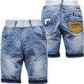 4021 calções bebê calças meninos denim calças de brim shortr luz azul do verão cool kids verão moda bebê 2017 crianças bezerro-comprimento 70% comprimento