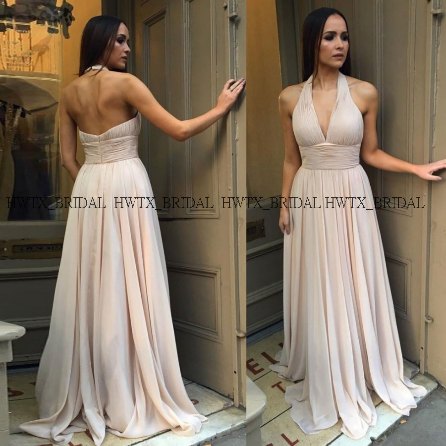 Long Elegant Chiffon Bridesmaid Dresses For Wedding Party Champagne A-Line Halter Backless Pleats Simple Vestidos Fiesta Boda