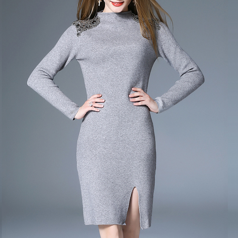 Winter Rivet Knitted Dress For Women Fashion Slim Wool Sweater Female Cashmere Pullover Dress Lady Elegant Warm Sweater PlusSize brand bonnet beanies knitted winter hat caps skullies winter hats for women men beanie warm baggy cap wool gorros touca hat 2017