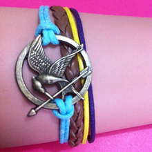 mix items 2014 new Design Bronze Metal Hunger Games Birds Infinity bracelet Leather Multilayer Mix Wax Cords bracelet