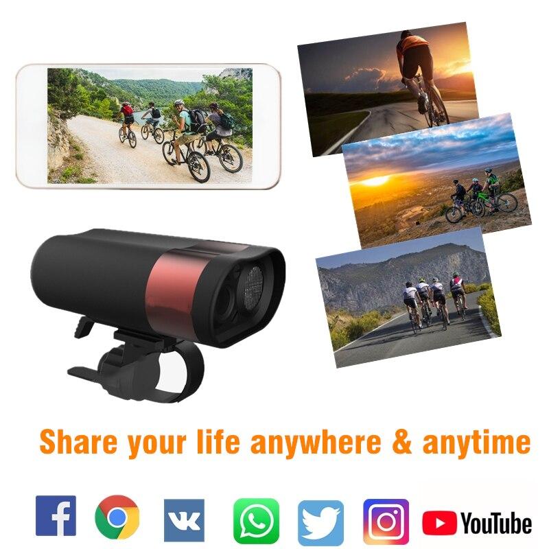 HD 1080P велосипедная фара для верховой езды, рекордер для вождения, профессиональный шлем DVR, свет, Wifi экшн камера, MTB дорожный велосипед, передн... - 2