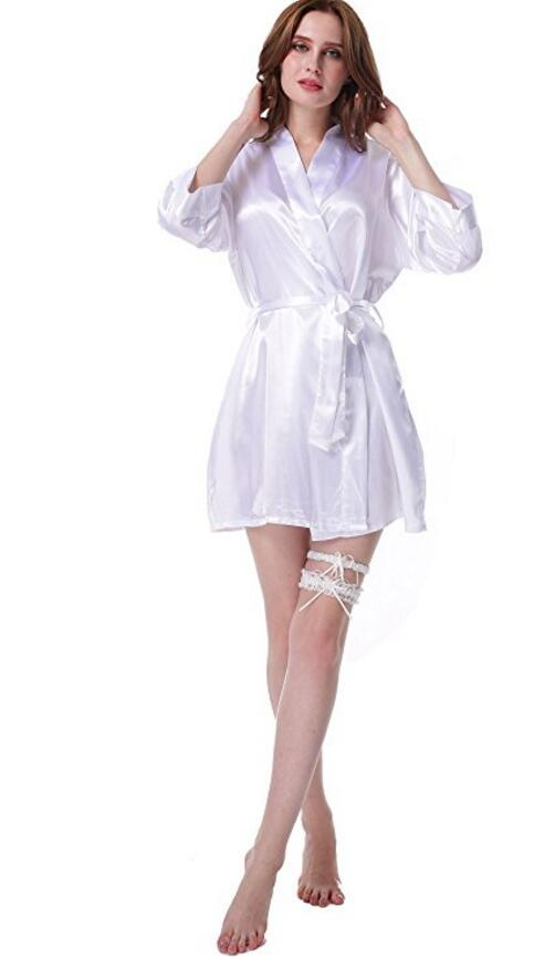 Women Silk Bridesmaid Bride Robe Sexy Short Satin Wedding Kimono Robes Sleepwear Nightgown Dress Woman Bathrobe Pajamas J-Pink ...