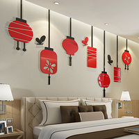 Chinese Spring Festival Red Lanterns Patterns Acrylic Stickers 3D Sticker DIY Living Room TV Background Wall Decorations