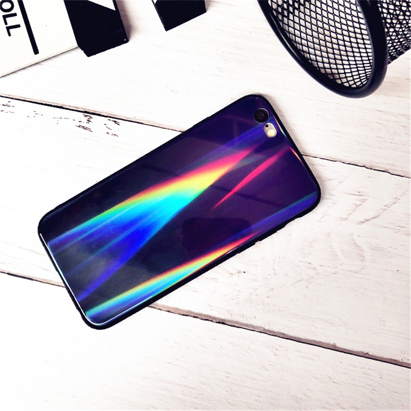 BONVAN For iPhone X 7 8 Plus Tempered Glass Back Case Gradient Color Laser Aurora Silicone Bumper For iPhone 7 6S 8 6 Plus Cover23