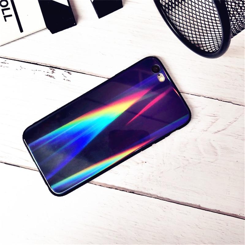 BONVAN For iPhone X 7 8 Plus Tempered Glass Back Case Gradient Color Laser Aurora Silicone Bumper For iPhone 7 6S 8 6 Plus Cover23