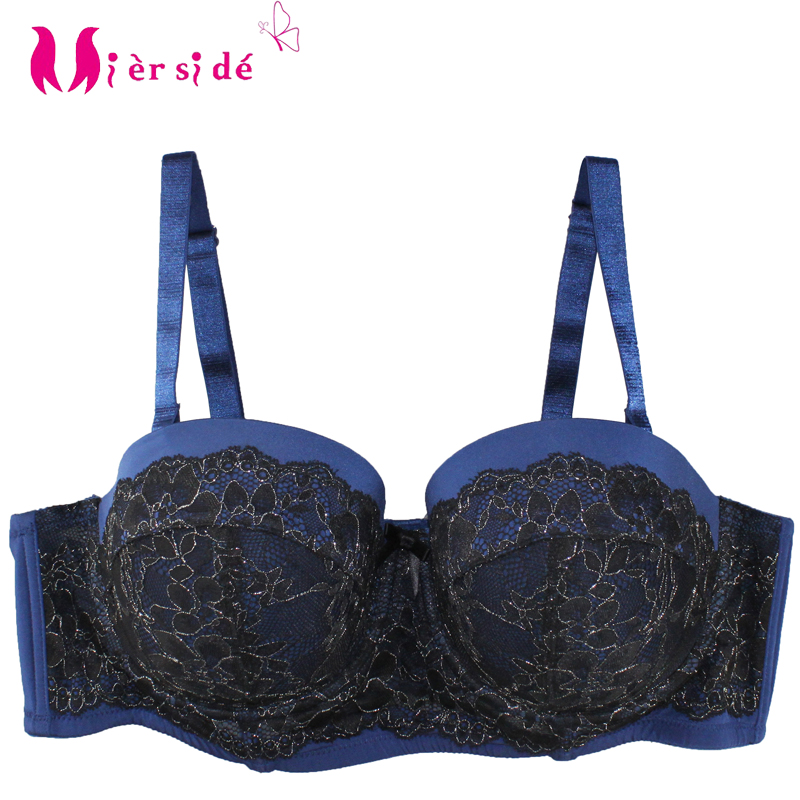 Initiative Mierside 1053 Plus Size Push Up Bra Pink/blue With Gold Lace Sexy Bralette Comfortable Women Underwear Everyday38-46b/c/d/dd/ddd Attractive And Durable Bras