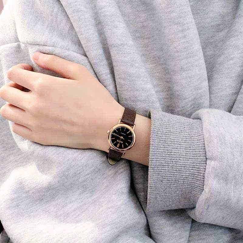 Корейский модный простой ретро небольшой круглый ремень женские часы студенческие часы свежий темперамент женские наручные часы