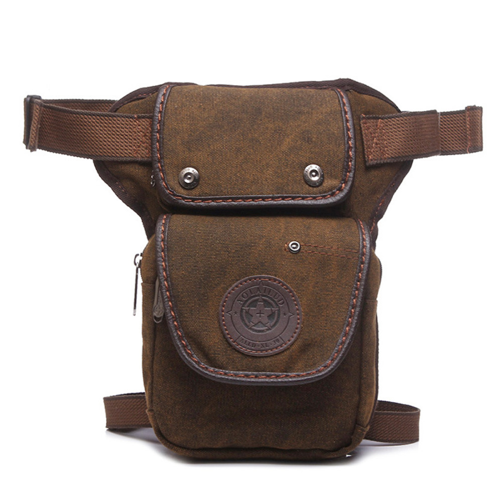 High Quality Canvas / Nylon Mænd Drop Leg Fanny Bag Bæltepakke Military Travel Small Messenger Skulder Motorcykel Ride Talje Tasker