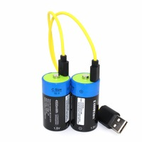 2pcs Etinesan 1.5v 4500mWh C Size Lithium Li Polymer BIG CAPACITY C type USB Rechargeable C battery + USB charging cable