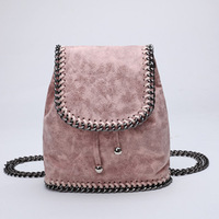 Women casual backpack with chain unisex PVC leather travel backpack fashion soft mini back bag for girls 2019 pink color