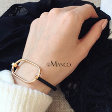 ФОТО emanco black metal bracelet simple geometric punk bangles minimalist gifts for women cuff bracelets & bangles jewelry 2018 new a