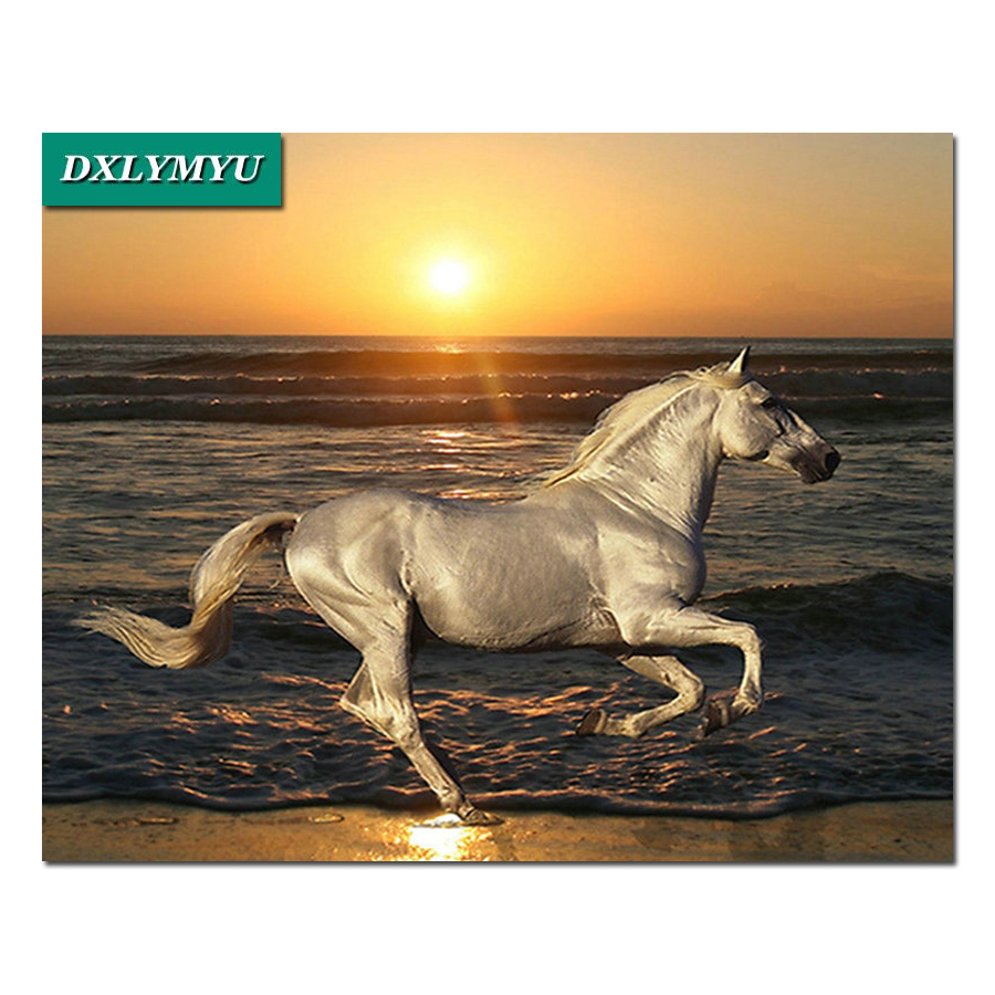 3d diamante diy ricamo a punto croce kit di diamante mosaico pittura immagine di vernice paesaggio Alba running horse home decor