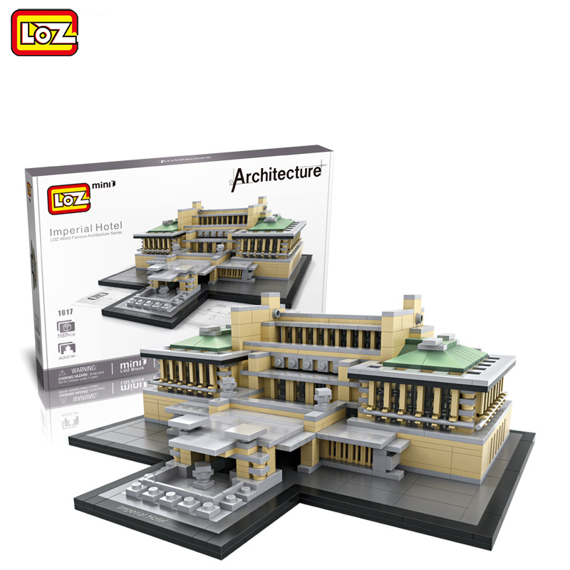 LOZ Mini Architecture Building Blocks Grand Hotel Plastic Assembly Model DIY Building Blocks Imperial Hotel House 1017 loz architecture toy chrysler building model nano pixels diamond single sale building blocks bricks toys plastic assembly 9381