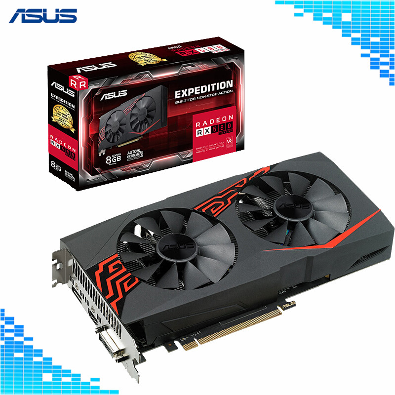 Asus EX-RX580 2048SP-8G Graphics Card 1294MHz 8G 7000MHz 256Bit DDR5 PCI Express 3.0 X16 Radeon RX 580 Computer Video Card