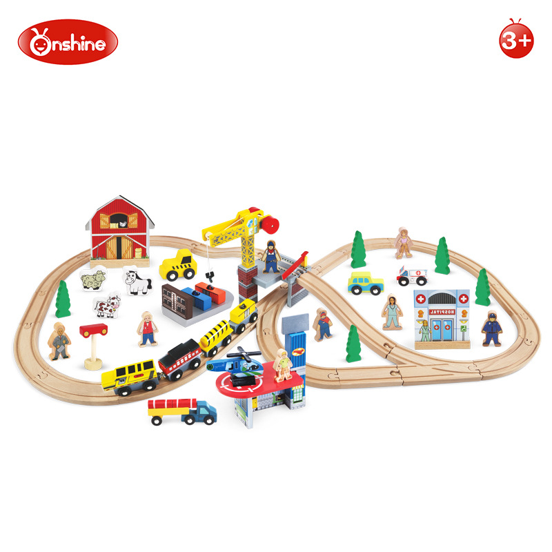 70pcs Farmland Train Set DIY Assemble Transport Railway Track Set Wood Disassembling Blocks Educational Wooden Toy 78pcs hand crafted wooden train set triple loop railway track kids toy play set