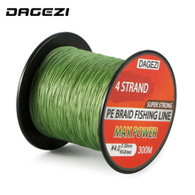 DAGEZI 20-90LB BRAIDED fishing lines With Gift 4 strand 300m Super Strong Multifilament 100% PE Braided Fishing Line(China)